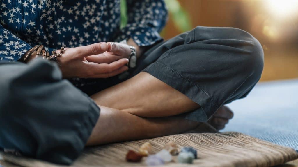 Meditation in Lotus Pose. Hands in Lap, Palms Facing Upwards